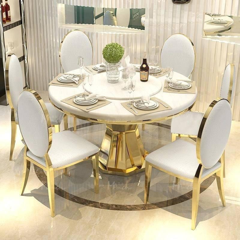 Moderne en acier inoxydable doré marbre table à manger créatif table à manger et chaise ensemble avec plateau tournant en métal