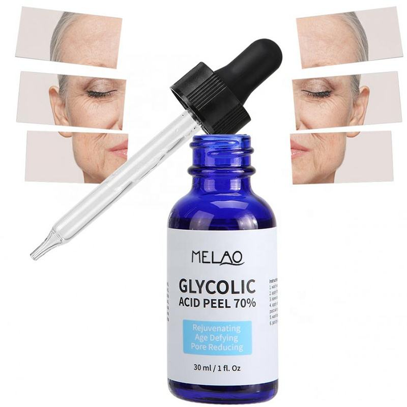 Cosmetic Grade 30ml Active Glycolic Acid 70% Facial Peel Serum Liquid Moisturizer Toning Solution for Ance Scar Skin Care