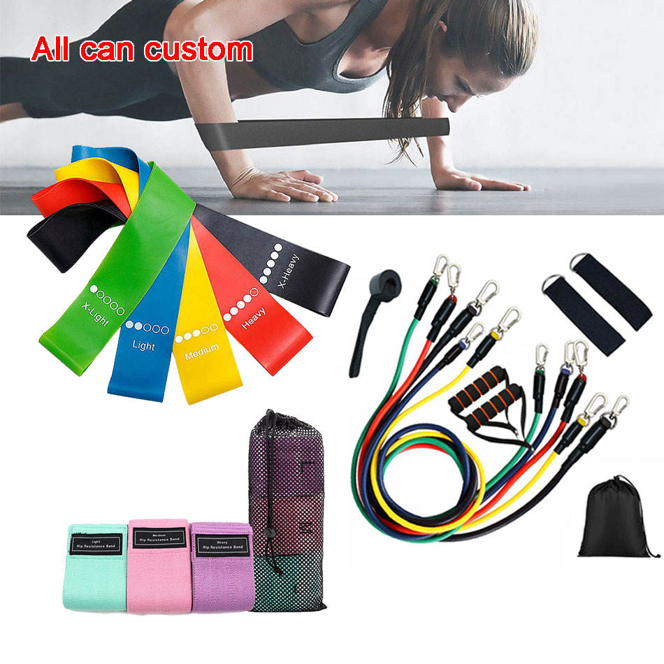 Custom Logo Groothandel Stretch Fitness Workout Resistance Bands Set Met Logo/Elastische Oefening Resistance Bands