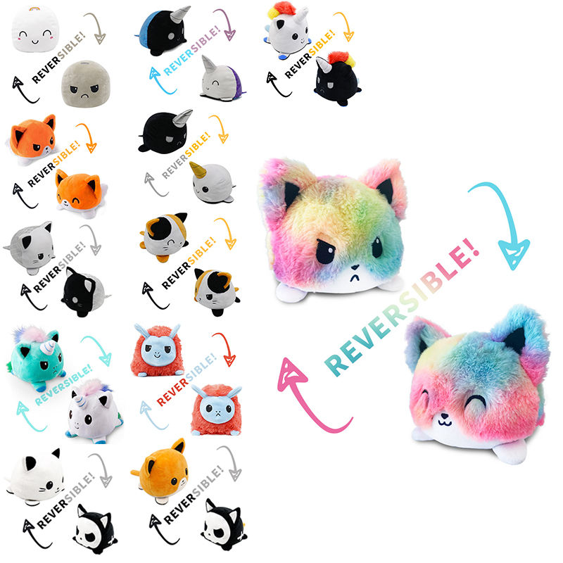 Hot Sale Flip Cat Plush Felpa de Peluches Gato Reversible Stuffed Toys Reversible Mood Cat Plush