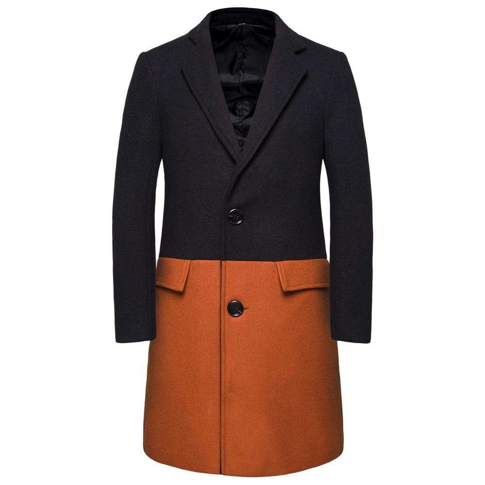 Autumn and winter men's long contrast color stitching woolen trench coat