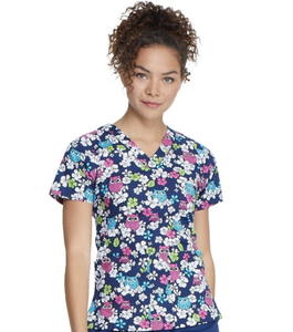Owl Pattern Women Nurse Uniform Print Medical Scrubs Nursing Uniform Hospital Women Scrub Top