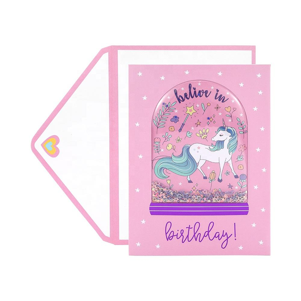Wholesale Custom Funny Paper Handmade 3D Unicorn Gold Foil Shake Happy Birthday Greeting Cards for Daughter
