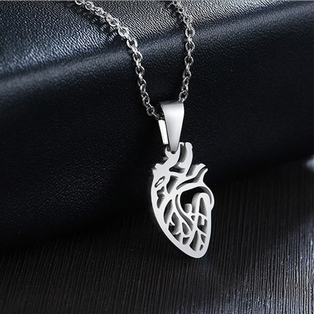 Dissecting Heart Organ Necklace Female Scientific Medical Research Jewelry joyeria fina stainless steel de china