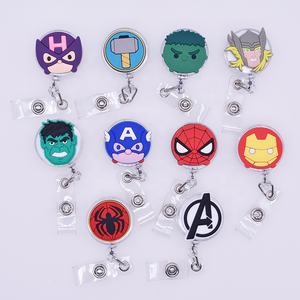 Factory Price Amazon hot sale stationery gift soft pvc cartoon animal cover retractable ID badge reel