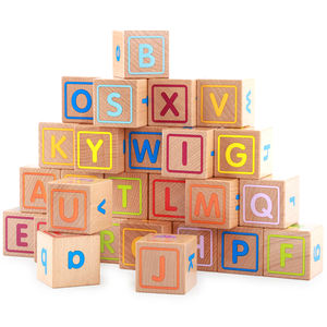 Painted Wood Natural Blocks Wooden Stacking Block Letters