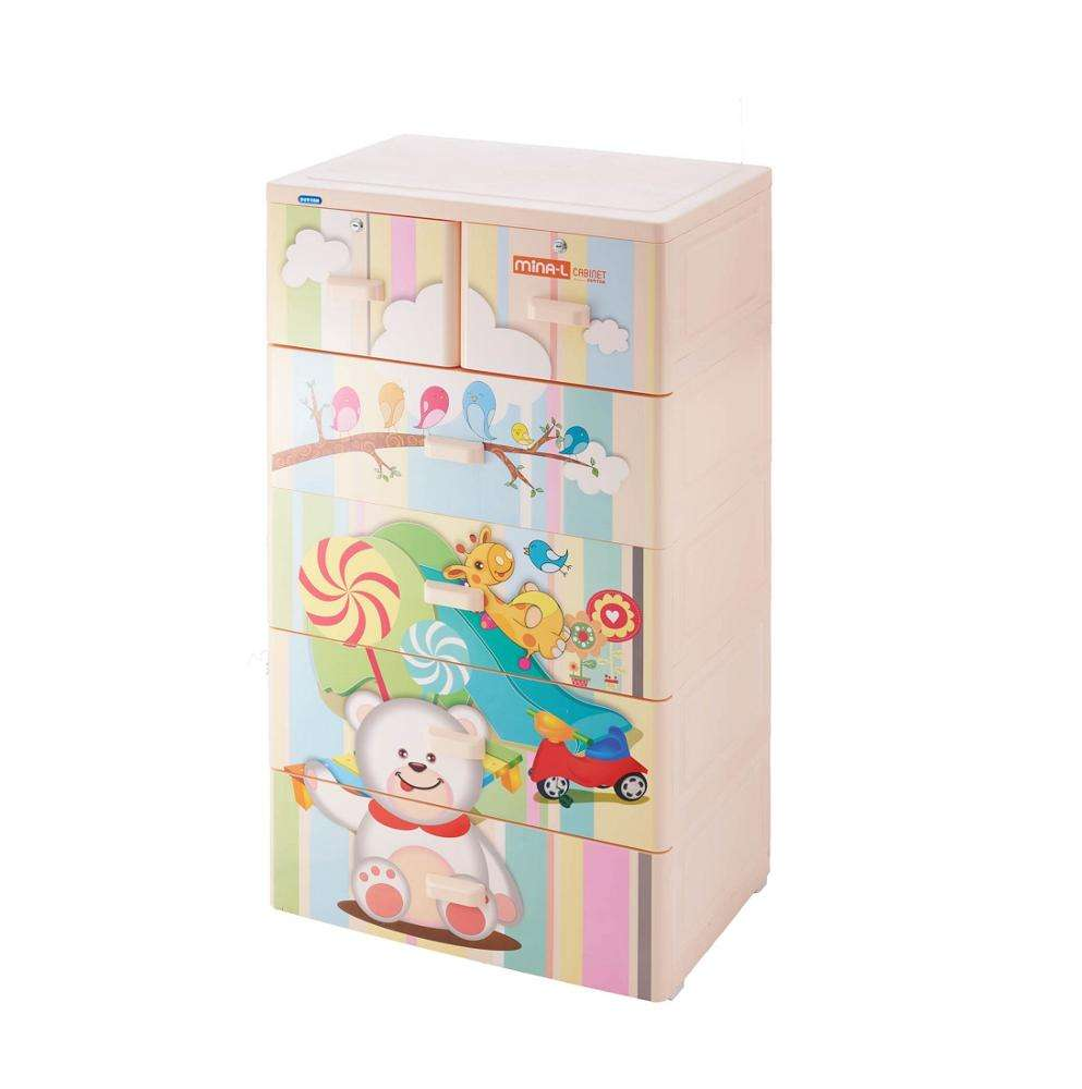 Vietnam luxury and modern design high quality pp / abs material Mina L Pink cabinet 5 drawers duy tan plastic