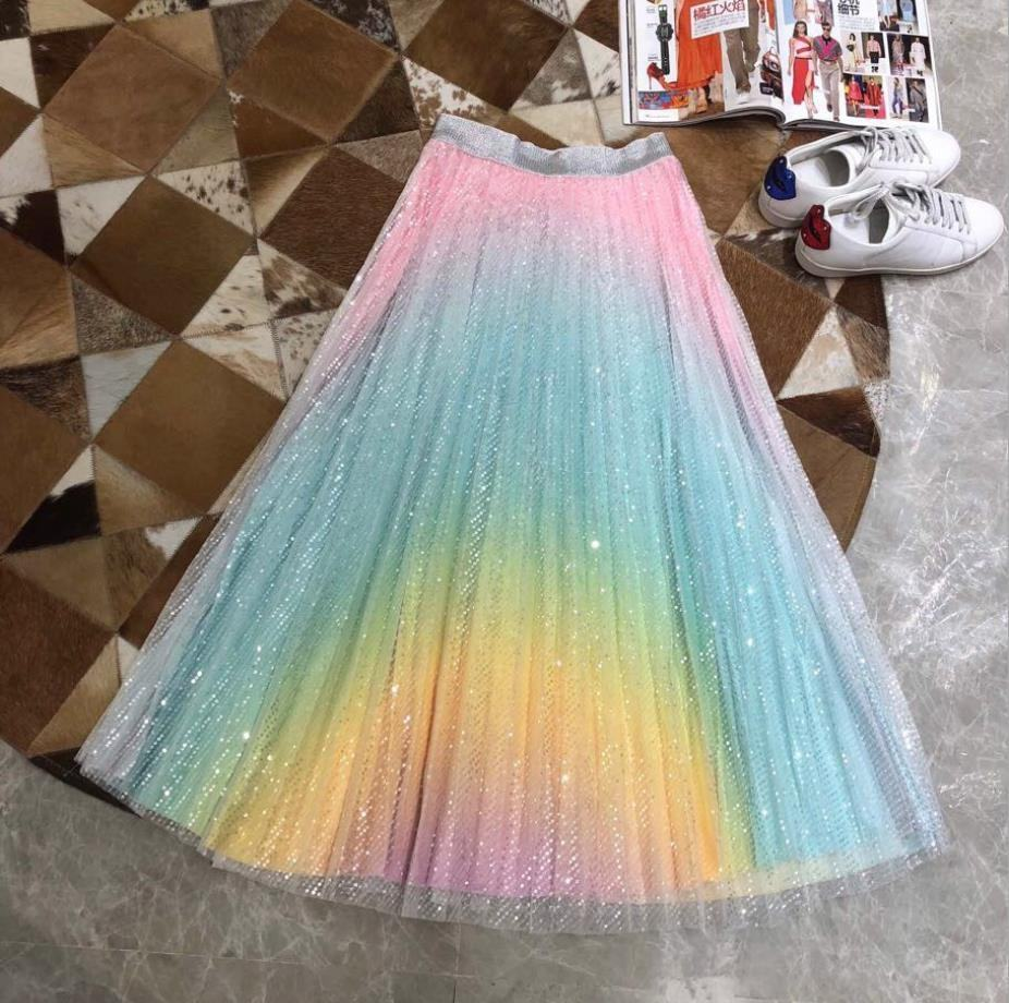 Satin Rainbow Kids Maxi Pleated Sequin Skirt