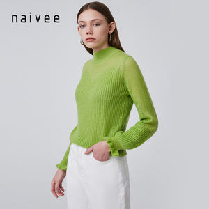 Naivee autumn winter lace sleeved loose women fluffy mohair sweaters plus size