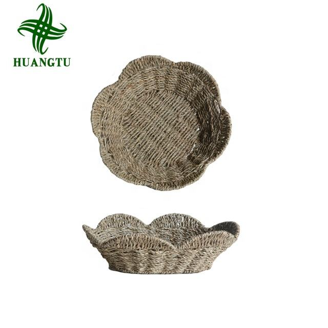 Storage Baskets Woven Round Seagrass Basket Set for Home