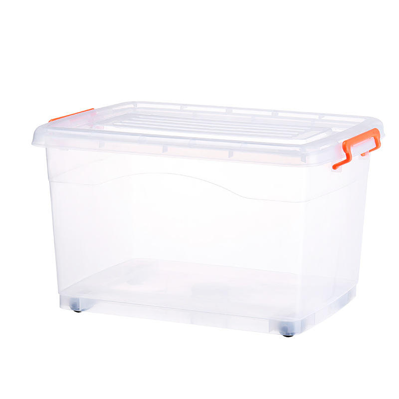 Wonderful Household Plastic Transparent Clothing Toy Snacks Quilt Sundries Super Large Storage Organizers Box Bins With Wheels
