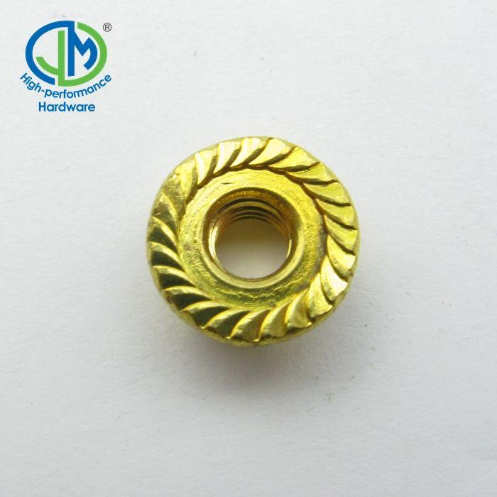 15 M8-1.25 J.I.S Serrated Flange Hex Nuts Yellow Zinc grade 10.9 JIS