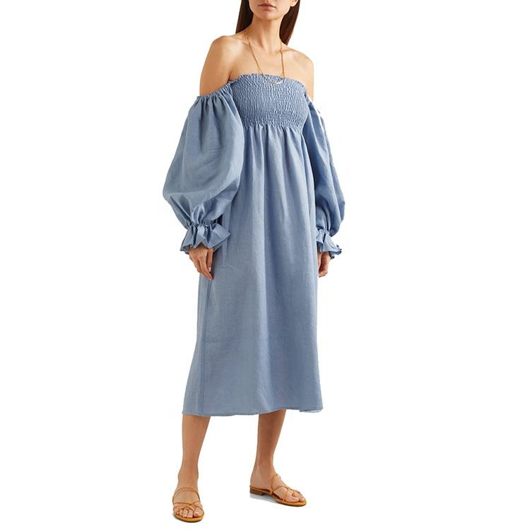 Sleepwear fashion design high quality off the shoulder shirred polka dot linen midi dress