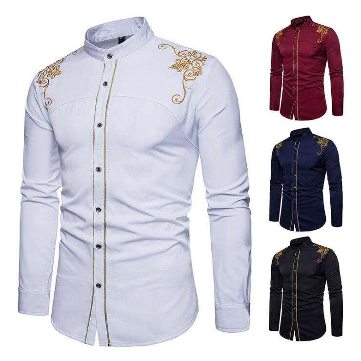 New Fashion Men's Shirts European American Embroidered Long Sleeve Men Dress Shirts