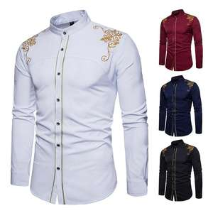 New fashion Men's Shirts European American Embroidered Long Sleeve Men Dress Shirts