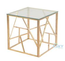 Chinese modern designer home furniture geometric modeling glass mirrored tea coffee table with gold metal structure