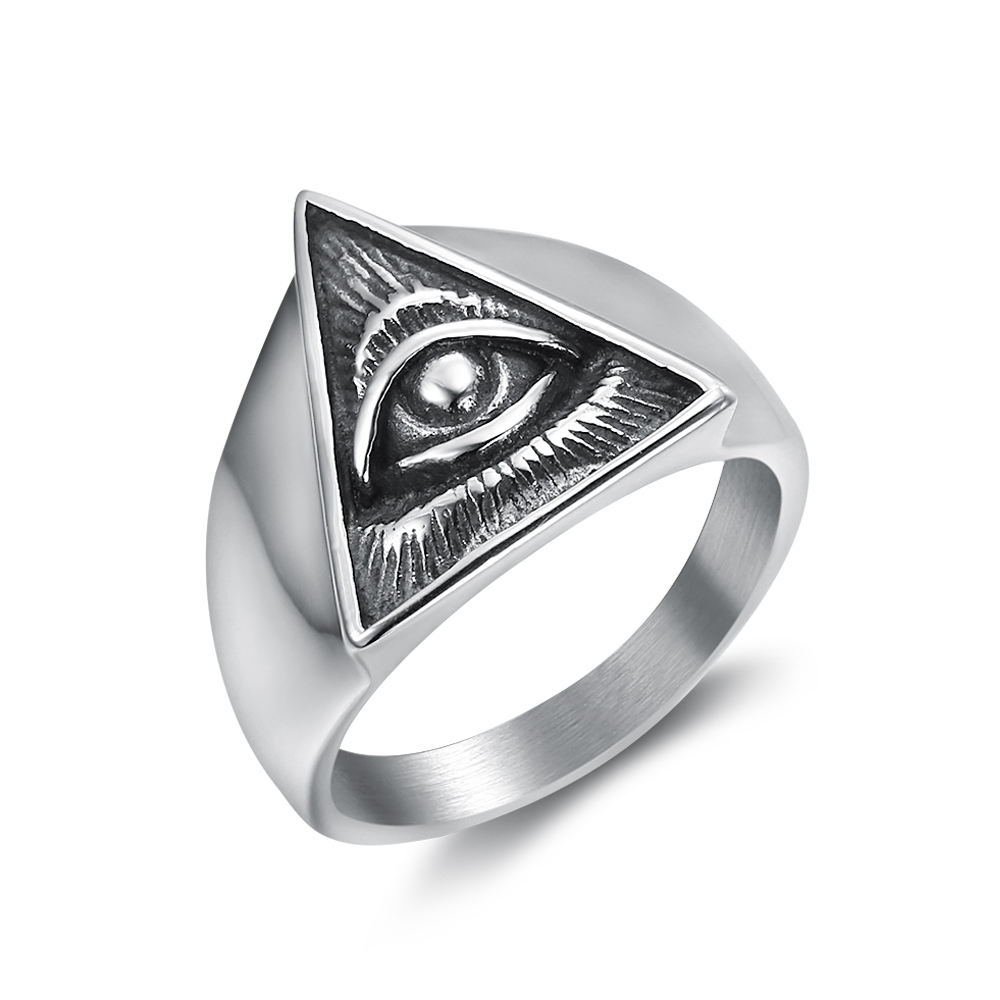 custom design rock roll ANK jewelry 316 Stainless Steel Triangle All Seeing Eye Illuminati Rings men jewelry rings
