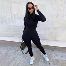 Custom logo women sexy skinny long sleeve solid One Piece bodycon Jumpsuit rompers