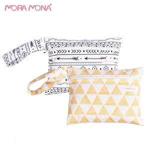 Mora Mona small size 18*14cm PUL fabric waterproof Menstrual Pads Bag rainbow pattern Washable storage wet Bag