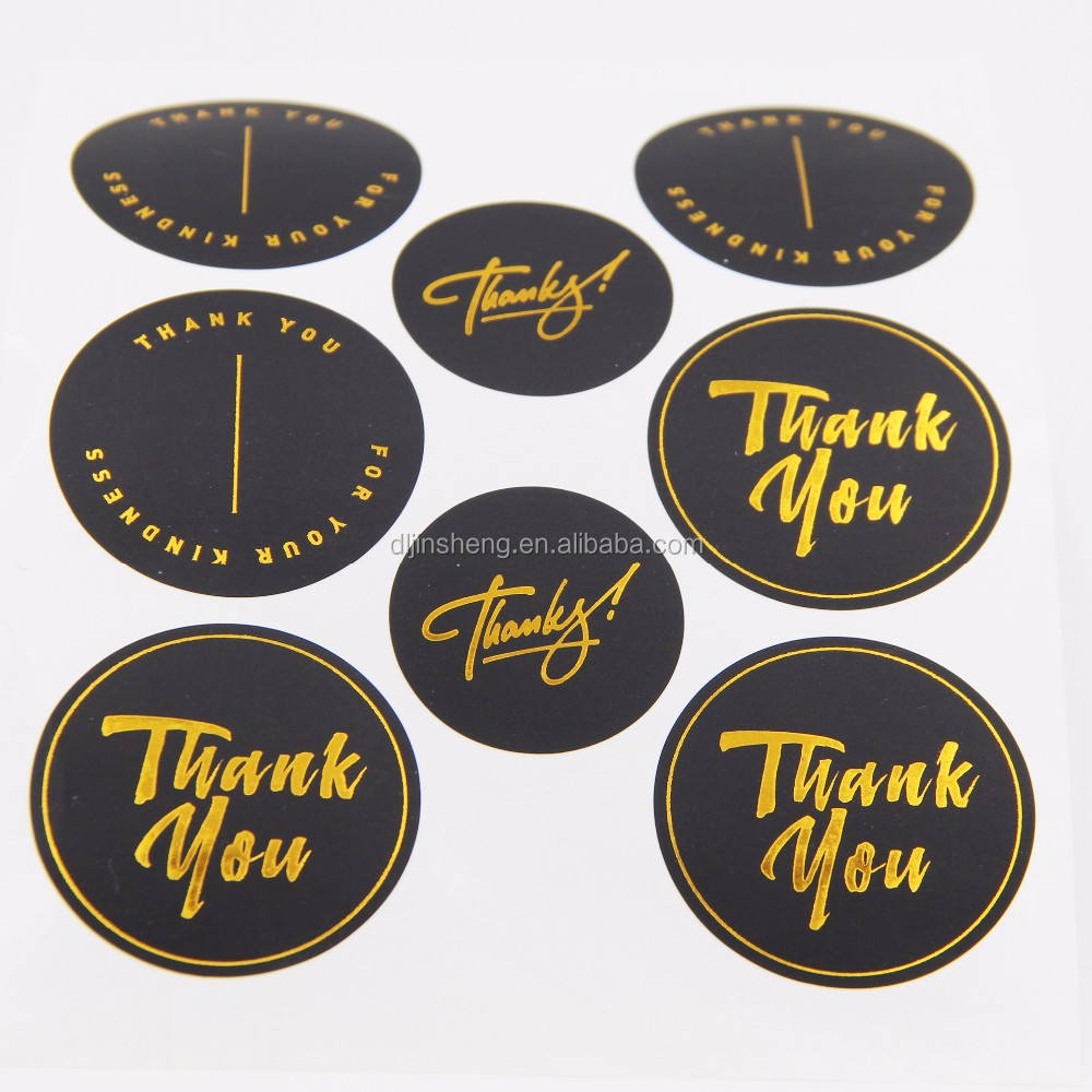 Thanks you round sticker sheet gold foil circle adhesive label