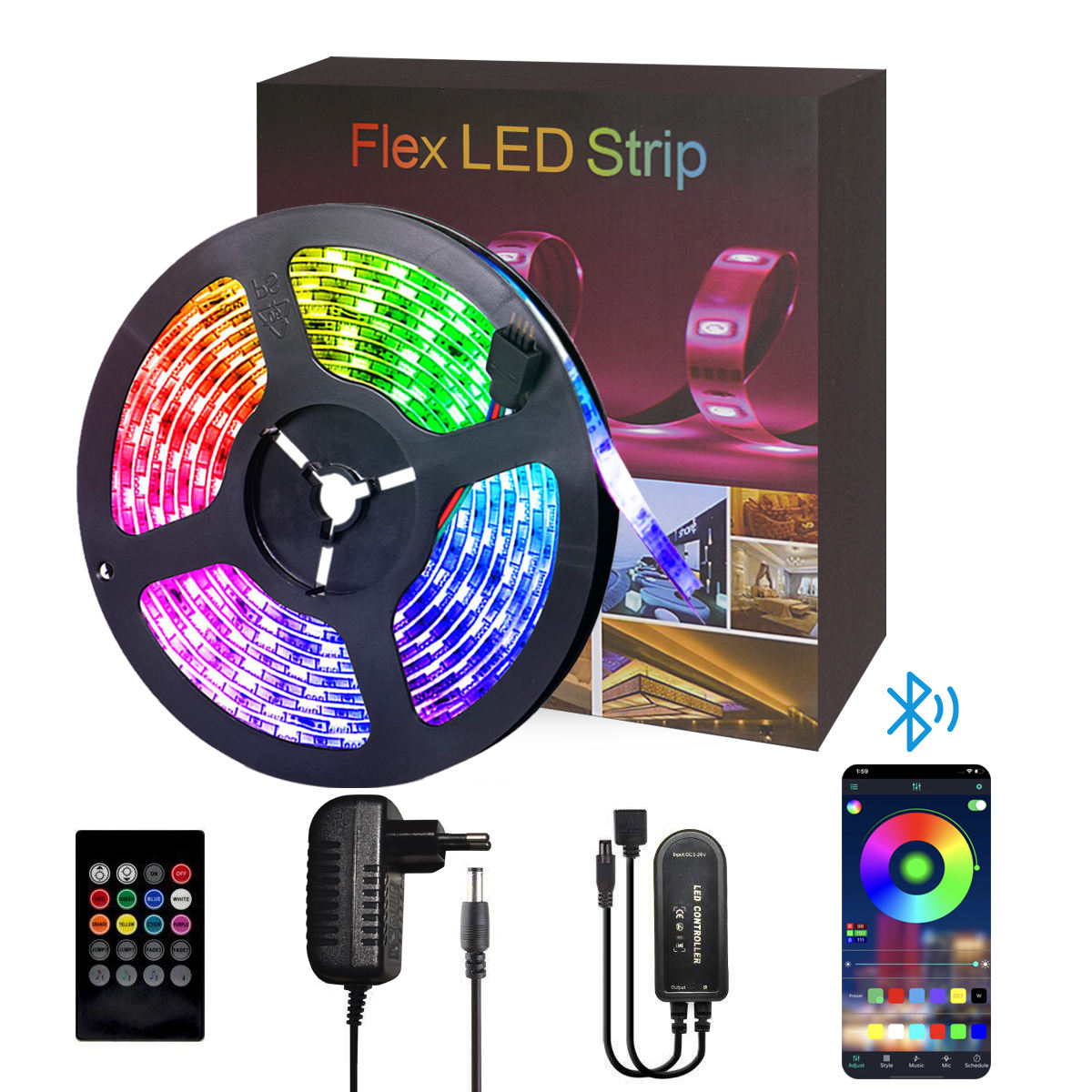 Full color phone control voice controlled smart wifi led strip controller 5M 10M
