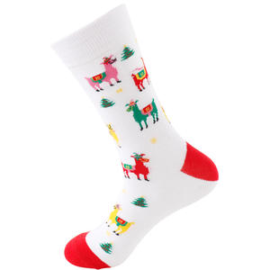 New Men's Casual Red Christmas Cotton Socks