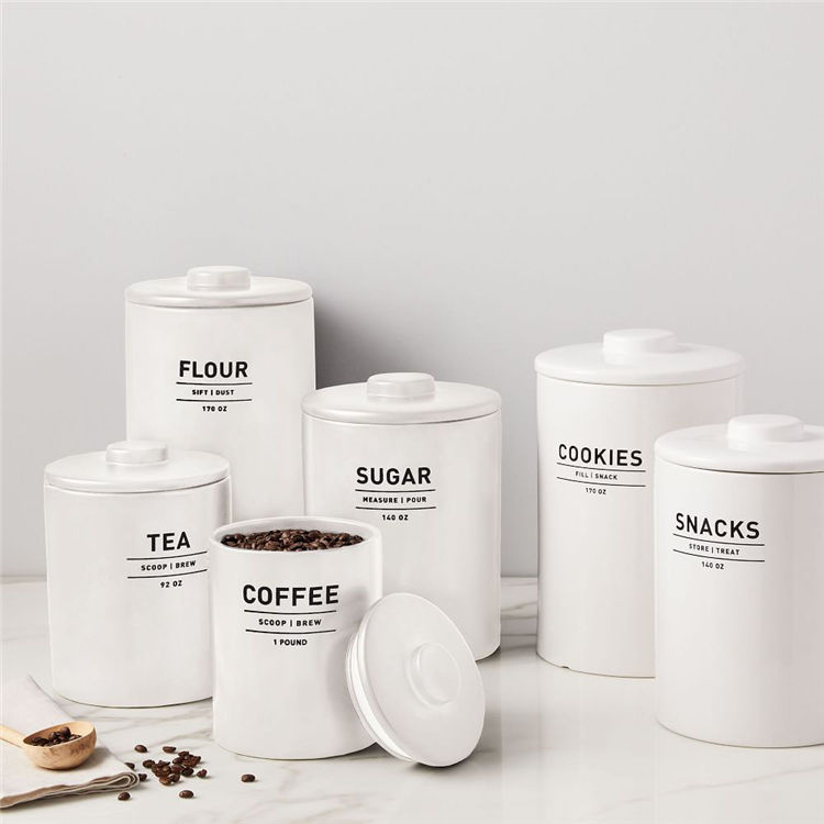 Wholesale kitchen decoration tea coffee food storage jar ceramic luxury kitchen canisters set