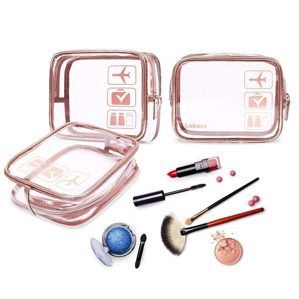 New fashion 3pc cosmetic bag sets simple design travel wash cosmetic bag pvc women small waterproof transparent cosmetic bag