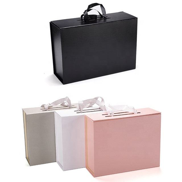 Wholesale folding clamshell handbag ribbon color shoes packaging luxury handbox paper gift box