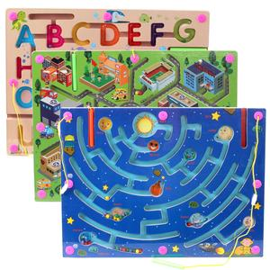 Educational Toys Dry Erase Easel Board Wooden Magnetic Maze Board Game Toy Bead Maze