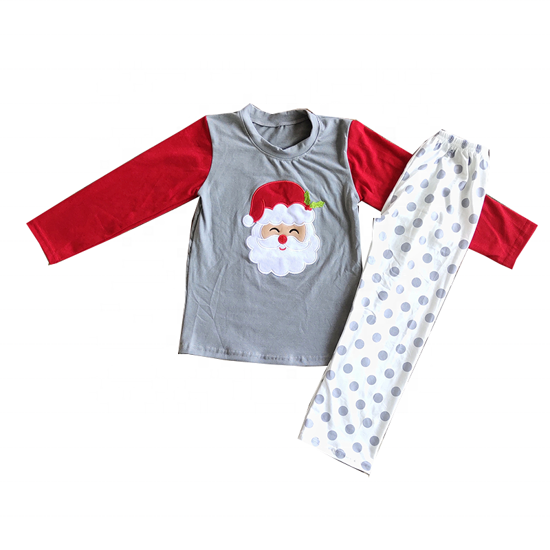 Ready to Ship new kids winter clothing wholesale boutique Christmas embroidery pajamas tunic and pants sets children clothes