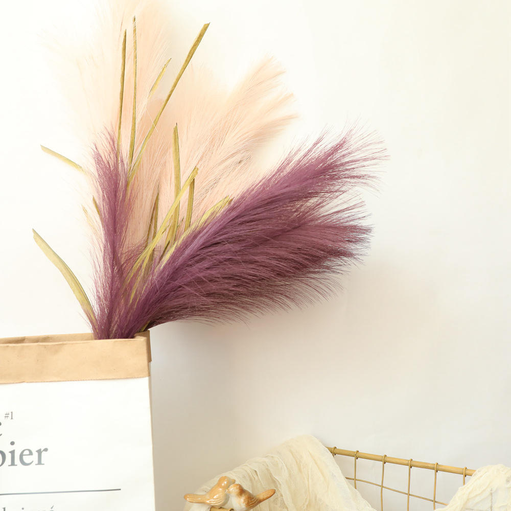 QSLH-T080 100センチメートルFaux Bulrush Multi Colored Pampas Artificial Reed GrassためDecoration