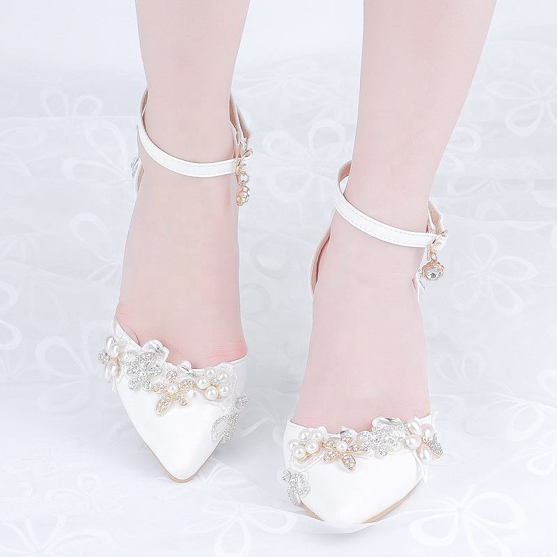 Fashion Sharp Word Belt Women Crystal Shoes High Heel Pearl Flower Bride Princess Wedding Shoes