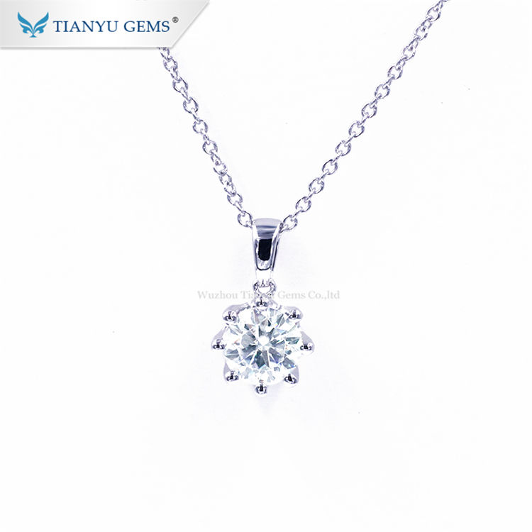 Pendant Chain Necklace Tianyu Gems Chain Link Jewelry Gold White 10K 6.5MM 1Carat Moissanite Pendant Necklace