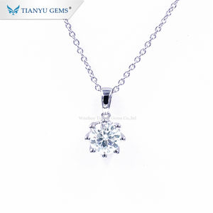 Tianyu Gems Chain Link Jewelry Gold White 10K 6.5MM 1Carat Moissanite Pendant Necklace