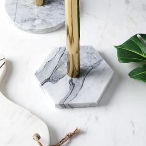 Custom Simple Paper Marble Napkin Rack Kitchen Tissue holder Marble Base Paper Towel Holder