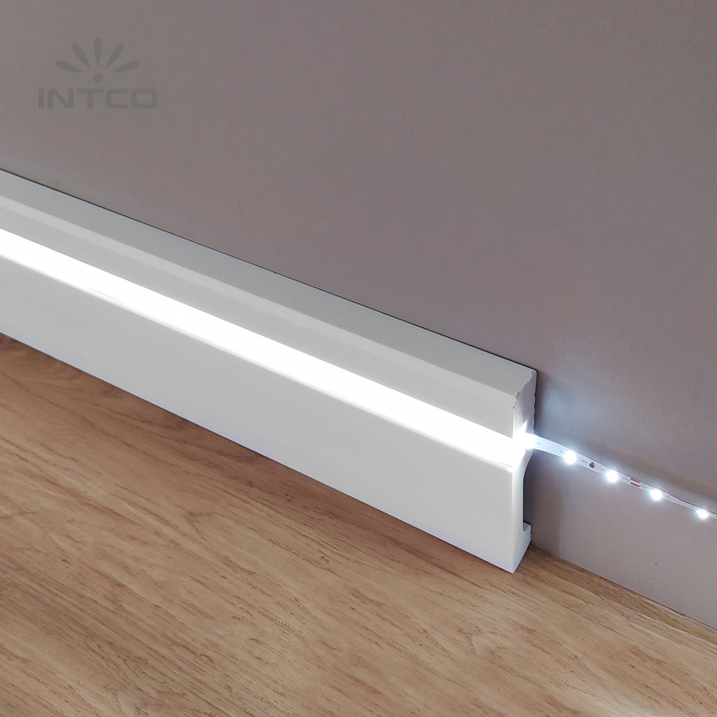 INTCO Home Decorative Flooring PS Waterproof Easy Install Led Bar Strip Light Skirting Board Baseboard
