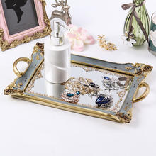 European Style Nordic Home Decor Vanity and Vintage Mirror Decorative Resin Tray With Handle