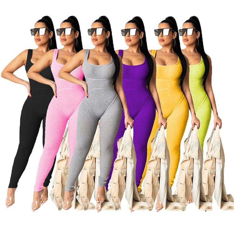 04BF061 2020 Summer women solid color long jumpsuits and rompers Plain knit vest solid skin tight jumpsuit sexy one piece romper