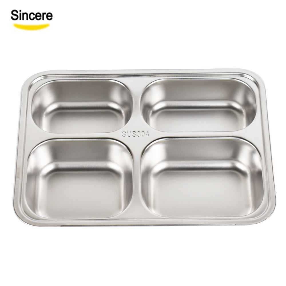 Cheap Price 4 Compartment 18/8 Stainless Steel Food Serving Lunch Tray For School Canteen
