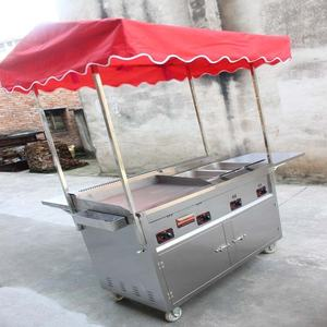 Mobile multi-functional snack trolley cart combination grill snack cart fried Guandong hand push snack trailer
