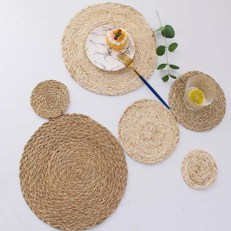 Multipurpose Usage Natural Straw Round Rattan Placemats Braided Tablemats