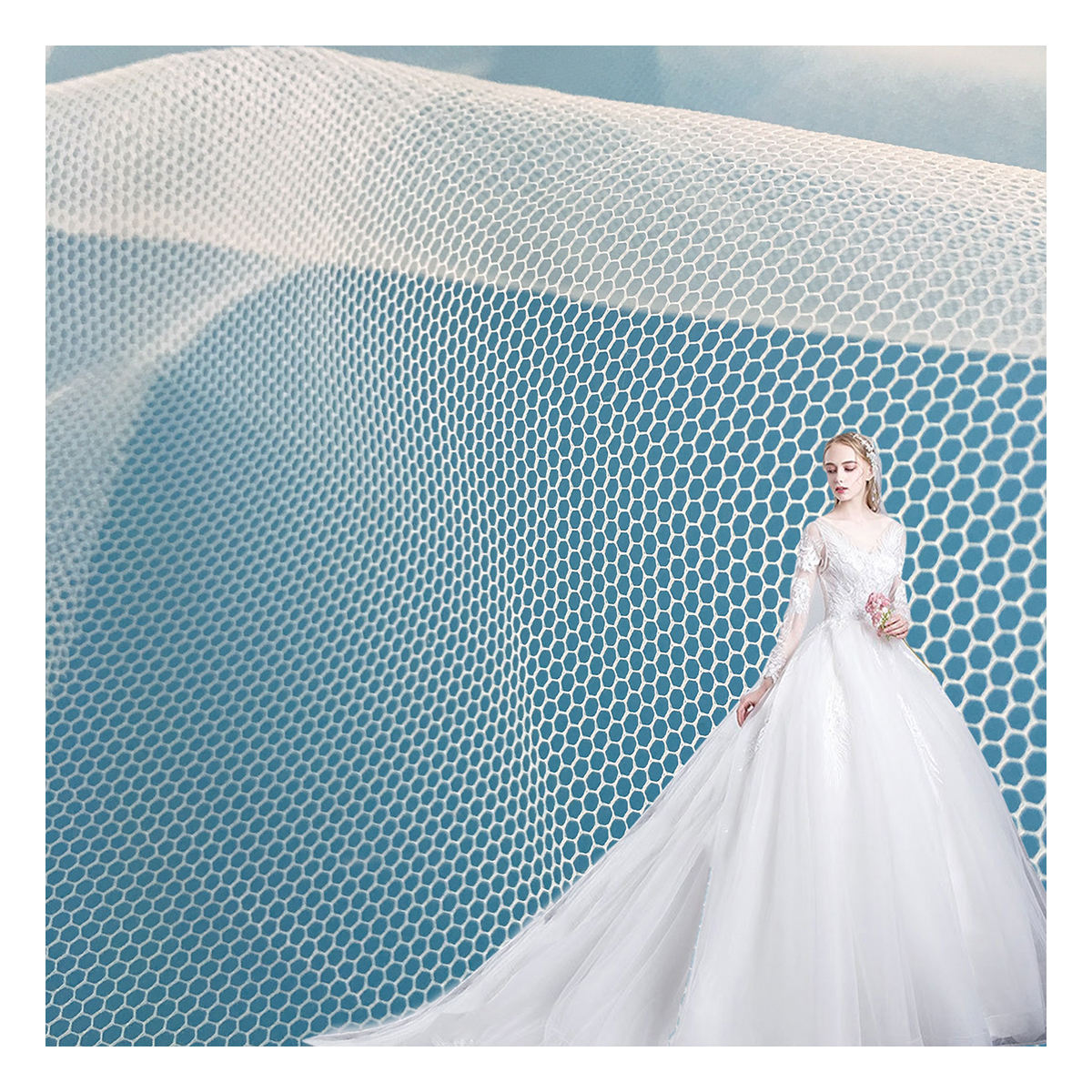 Polyester Net Stiff Hard Mesh Fabric for Embroidery