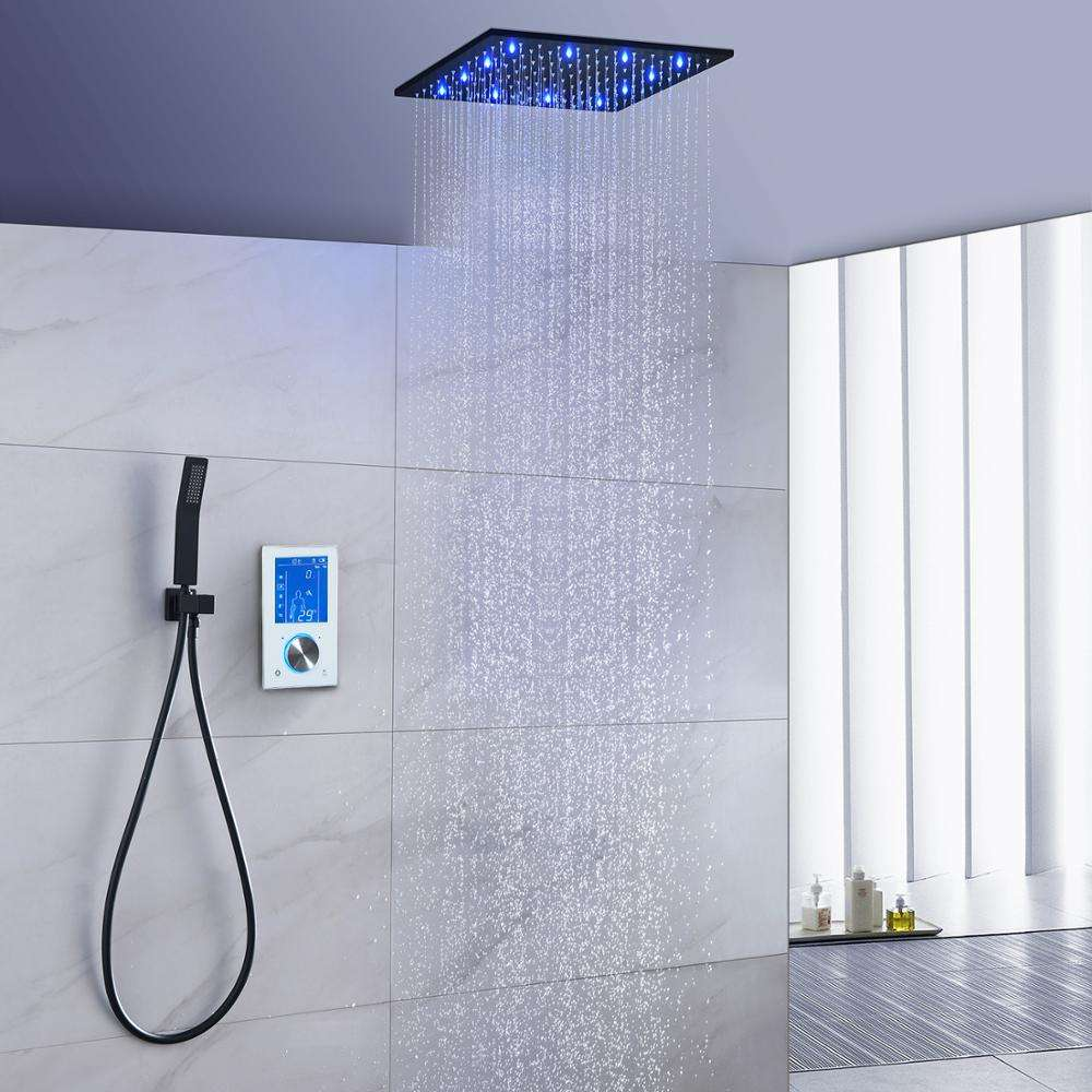 Bathroom [ Bathroom Shower Square ] Black Bathroom Bathtub Shower Set And Chromed Wall Mount Square Water Saver Brass Led Shower Heads With Handheld Shower Holder