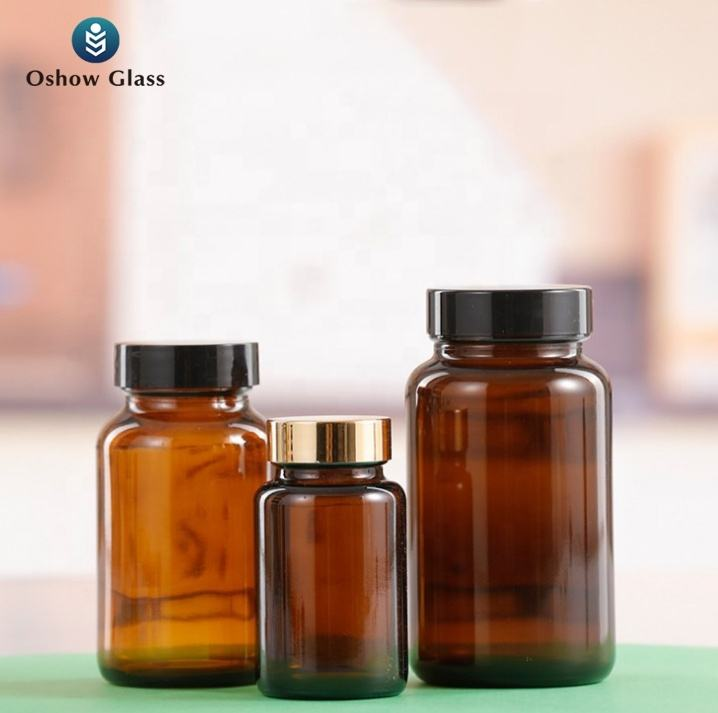 OSHOW Wholesale 75ml 100m 120ml 150ml 200ml Empty Medicine Packaging Container Amber Glass Round Wide Mouth Pill Bottle