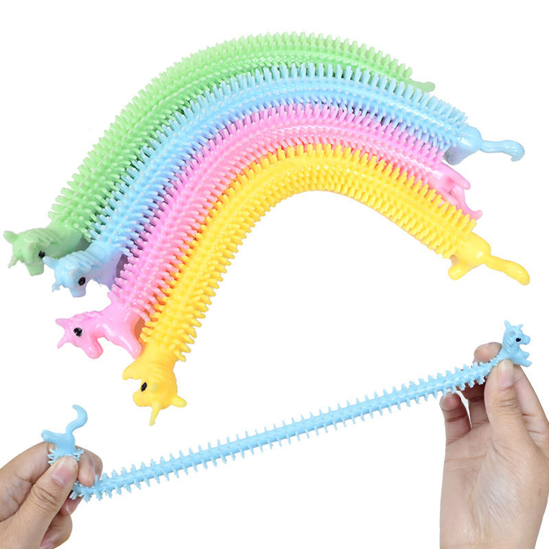 Fidget Sensory Toys Unicorn Stretchy String Toys Build Resistance Squeeze Pull Noodles Unicorn