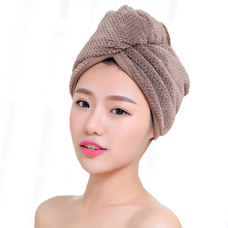 Custom Printed Bamboo Hair Dry Towel Wrap Super Absorbent Quick Drying Waffle Home Spa Wrap Hair Towels