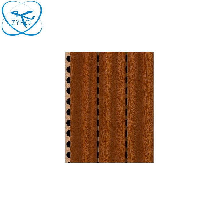 Fire-rated and Eco-friendly sound absorb grooved wood acoustic wall panel for meeting room