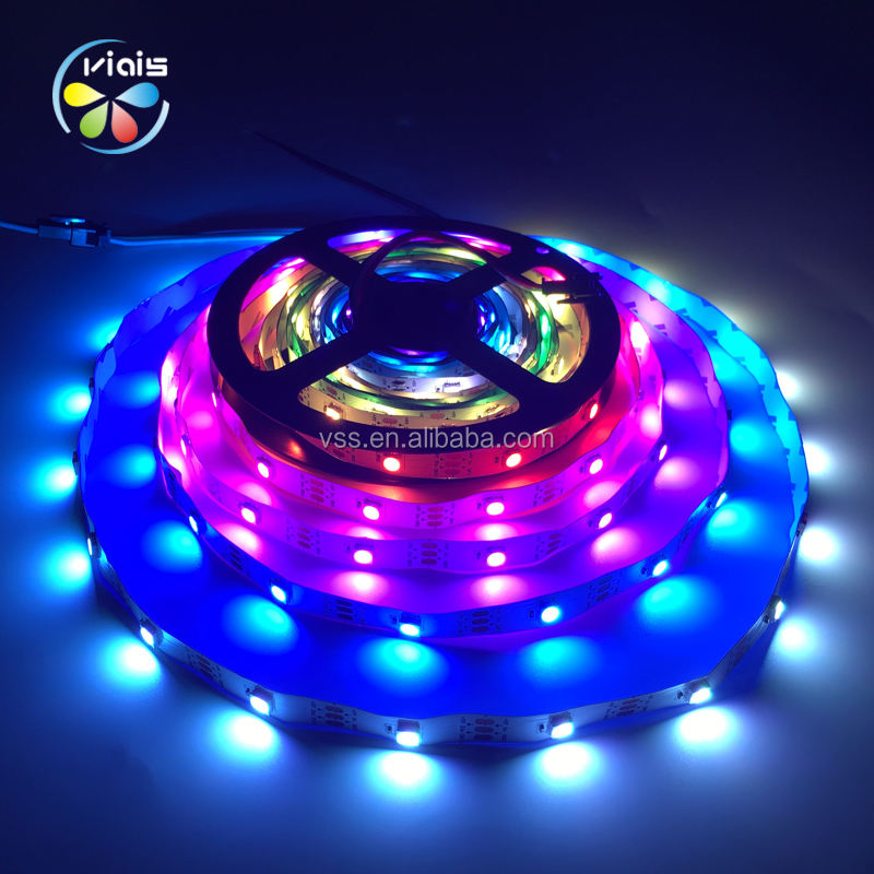 Viais Manufacturer Programmable Addressable 5V Flexible Waterproof WS2812B Smd 5050 RGB Light Led Strip
