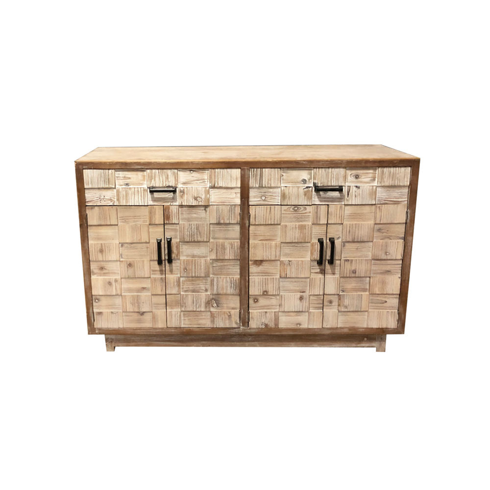 Antique wall side household storage environmental protection 4 doors 2 drawers carved solid wood craft furniture wooden cabinet